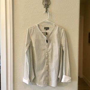 Michael Stars burton down striped shirt, S NWT